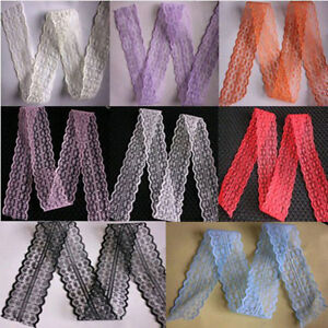 10-20-50-100-Yard-Embroidered-Net-Lace-Trim-Ribbon-8-Color-Select