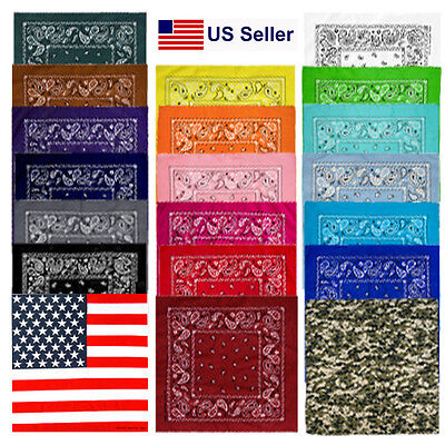 Lot Of 3 6 12 100% Cotton Paisley Print Scarf Bandanas Head Wrap Wristband