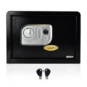 Electronic Fingerprint Safe Box with Mechanical Override, Includes Keys