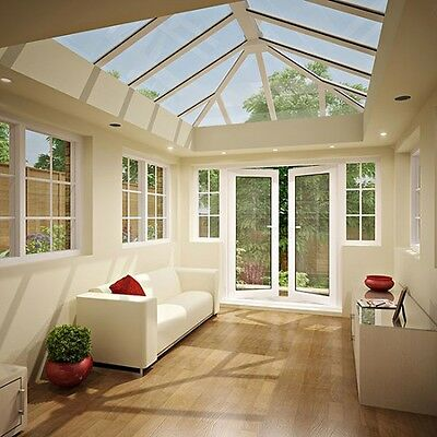 2m L X 1.5m W Skylight Roof Lantern | White uPVC Clad Aluminium Glass Roof