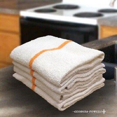 60 Goldorange Stripe Bar Mops Restaurant Kitchen Commercial Towels 33oz