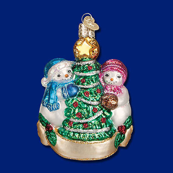 SNOWMAN COUPLE Love Glass Ornament Old World Christmas NEW IN BOX