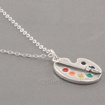 Artist PAINT PALETTE Necklace Charm Pendant brush STERLING SILVER Art Enamel 925