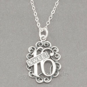 SWEET 16 Sixteen Necklace Birthday Charm Pendant STERLING SILVER 18