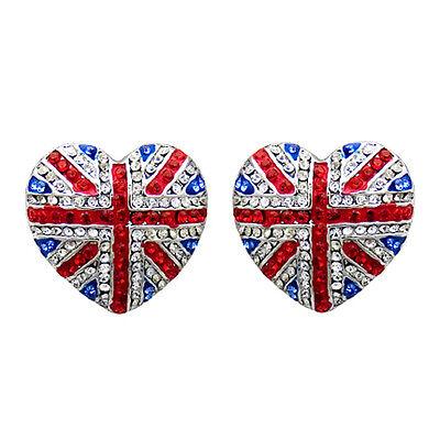 Butler & Wilson Cristal Union Jack Pendientes Corazón Harry Meghan Real Boda...