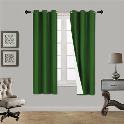 1 HUNTER GREEN SOLID PANEL THERMAL LINED BLACKOUT GROMMET WINDOW CURTAIN K32 63