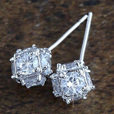 "Clear Swarovski Crystal 9K White Gold Filled ""Megic Ball"" Stud Earrings,Z569 on Rummage"