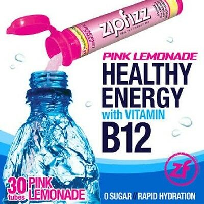 ZipFizz All Natural  Energy Drink Mix - PINK LEMONADE (30 Tubes) * FREE SHIP - Drink Mix Pink Lemonade