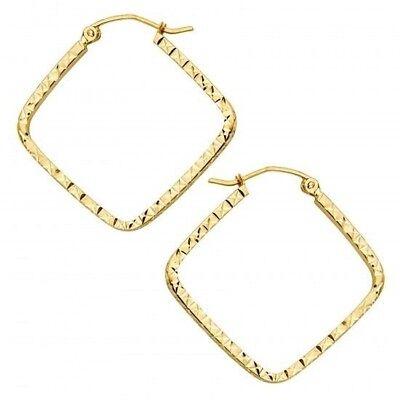 Flat Square Hoop Tube Texture Diamond Cut 1 Inch Real 14K Yellow Gold Earrings