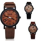 Casual Simulation Wood Grain Color Dial PU Leather Band A...