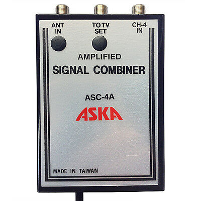 Channel 4 Signal Combiner Amplified 15 dB Video Modulator ASC-4A, CH-4 Adj Gain Video-signal Combiner