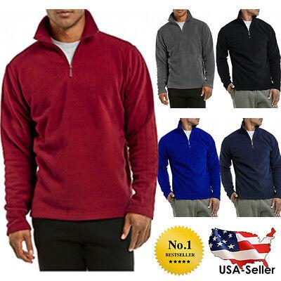 Mens Quarter 1/4 Zipper Hiking Camping Golf Long Sleeve Polar Fleece Sweater Long Sleeve Polar Fleece
