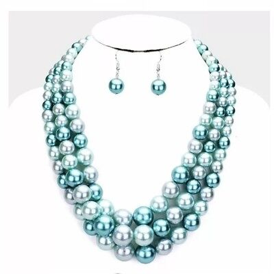 Blue Chunky Statement Pearl Multi Layered Strand Bead Necklace Set Earrings Chunky Bead Necklace Earrings