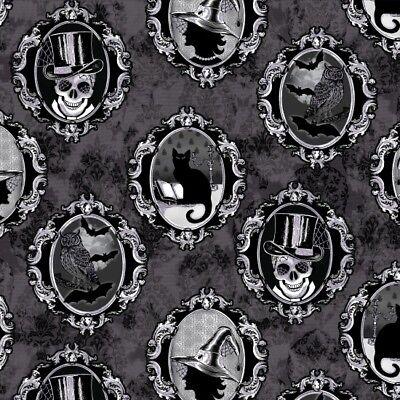 Halloween Fabric - Fright Night Spooky Portraits Black - Henry Glass 33