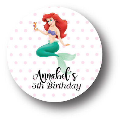 30 Little Mermaid Ariel Birthday 1.5 inch Stickers - personalized](Little Mermaid Stickers)