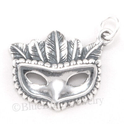 3D MASQUERADE PARTY MASK 925 Sterling Silver Mardi Gras HALLOWEEN Charm Feathers