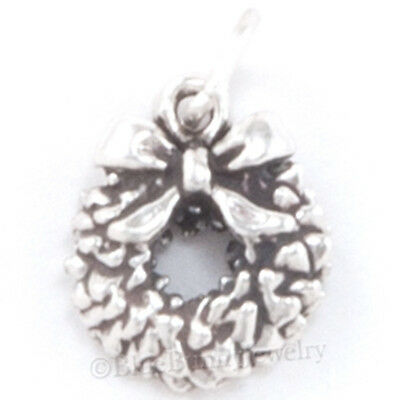 CHRISTMAS WREATH Charm Pendant BOW Bracelet 925 STERLING SILVER Jewelry small