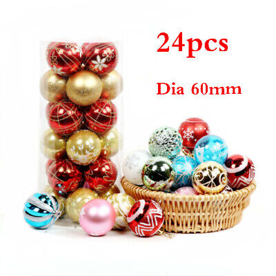24pcs Christmas Tree Decor 6cm Large Xmas Ball Bauble Party Wedding Ornament US