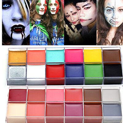 12 Colors Face Body Paint Oil Painting Art Make Up Set Halloween Party Fancy DIY