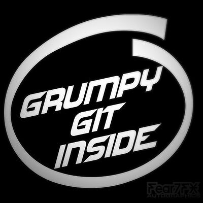 Grumpy Git Inside Funny Car Sticker Decal For Window Bumper Van Camper 4x4, Jeep