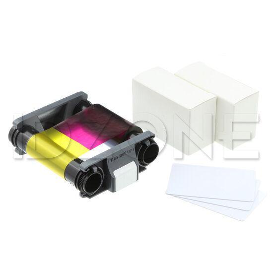 NEW Genuine Evolis Badgy200 YMCKO Ribbon + 30 Mil Cards Supplies Kit - CBGP0001C