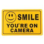 2Pcs SMILE YOU'RE ON CAMERA Warning Security Yellow Sign ...