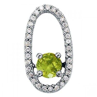 - NEW 14k WHITE GOLD OVAL DESIGN PERIDOT & DIAMOND SLIDE PENDANT NECKLACE JEWELRY