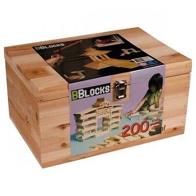 BBlocks 200 Holz-Bausteine Naturholz Stäbe Bauhölzer in Holzkiste