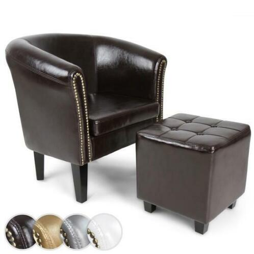 Chesterfield Fauteuils En Zetels.Chesterfield Fauteuil Met Hocker Zetel Donkerbruin