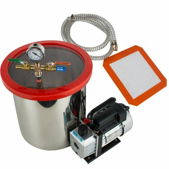 5Gallon 21L Stainless Vacuum Degassing Chamber Silicone 3CFM W/ Pump Hose Sale
