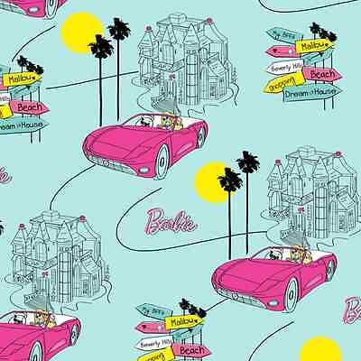 "Mattel Barbie Car Hot Pink Barbie's Dream House Mansion Cotton Fabric 24"" Length"
