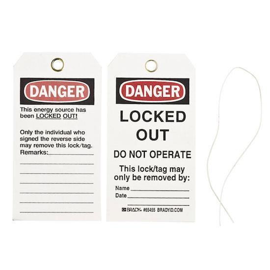 PACK OF 25 BRADY 65455 Y88508 LOCKOUT TAGS: DANGER, LOCKED OUT, DO NOT OPERATE