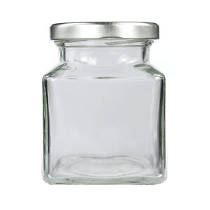 50 SMALL SQUARE GLASS JARS 110 ML WITH SILVER LIDS - WEDDING FAVOURS CANDY JAM