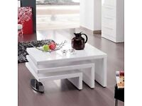Design Coffee Table Rotating In White High Gloss With 3 Top