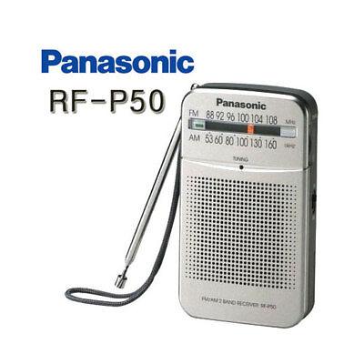 Panasonic RF-P50 Pocket Radio Portable AM//FM 2-Band Receiver Silver// Genuine