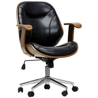 Baxton Studio SD-2235-5WALNUT/BLACK Rathburn Modern Office Chair-