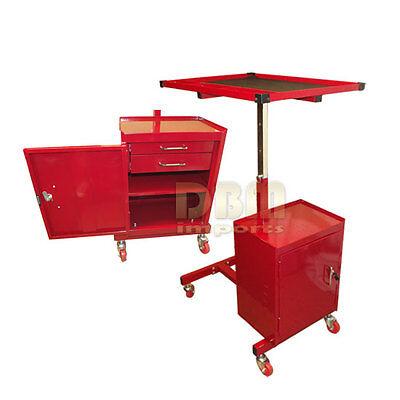 Red Adjustable Metal Rolling Tool Cart Workstation Work Table Cabinet 2 Drawer