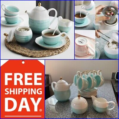 Porcelain Tea Sets (Vintage Cup Porcelain Tea Sets Teapot Coffee Saucers Set 16 Piece Premium Gifts)