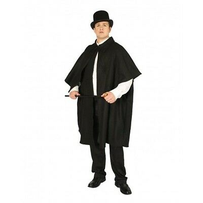 ADULT MENS BLACK VICTORIAN CLOAK DICKENS SHERLOCK HOLMES SHADOW COSTUME CAPE