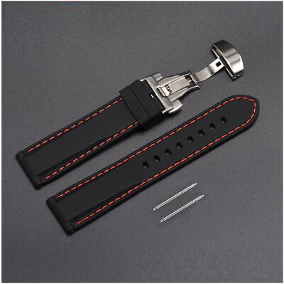 Red Rubber Strap (Rubber Silicone Replacement Watch Band Strap Steel Buckle Lock Red Stitching)