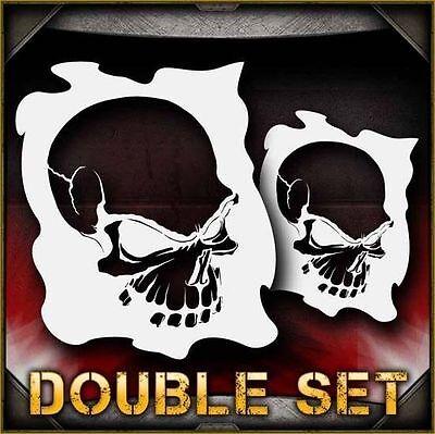 Skull 9b Double Set Airbrush Stencil Template Airsick