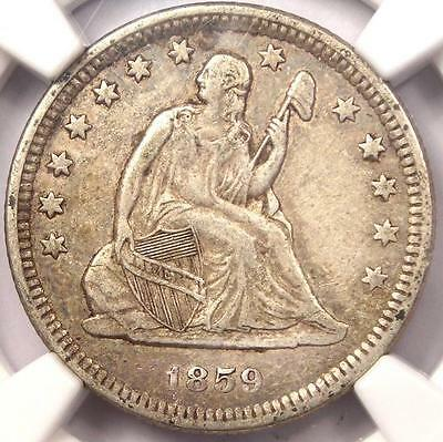 1859-O SEATED LIBERTY QUARTER 25C - NGC XF DETAILS EF -