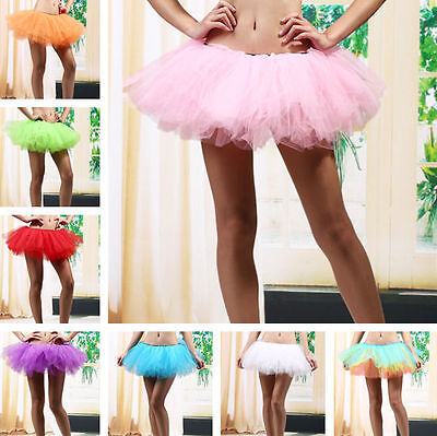 5 Layers Adult Women Tutu Tulle Skirt Petticoat Dance Rave Neon Party US STOCK (Neon Tutus)