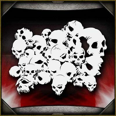 """Skull Background 2"" Airbrush Stencil Template Airsick"