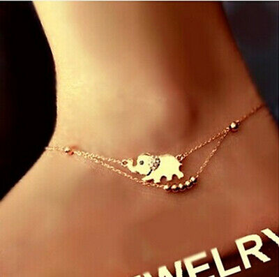 New Rose Gold Elephant Charm Foot Chain Sandal Beach Barefoot Anklet Bracelet
