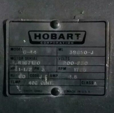 Hobart Dishwasher Motor Assembly -c44 Ml 39850-j  200-230 Volt 3 Phase