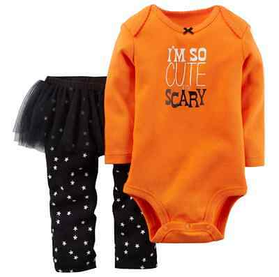 *NWT* CARTER'S BABY GIRLS 3 MONTHS HALLOWEEN I'M SO CUTE IT'S SCARY OUTFIT SET
