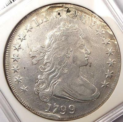 1799 DRAPED BUST SILVER DOLLAR $1   ANACS VF DETAILS    CERTIFIED COIN