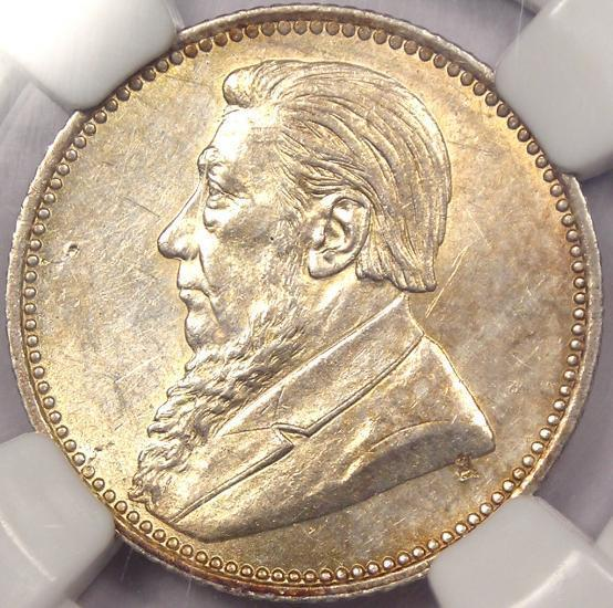 1892 South Africa Zar Sixpence (6P) - NGC AU Details - Rare Date Coin