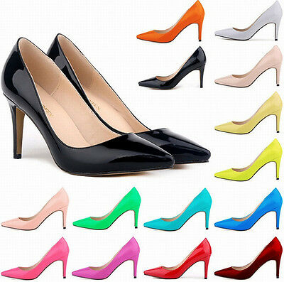 15 Colors Women 8cm High Heels Office Solid PU Stilettos Pumps Shoes Plus size - Size 15 High Heels Womens